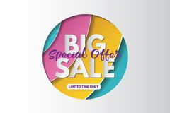Big sale banner template design. Banner design with paper cut background. Paper art and craft style. royalty free stock images