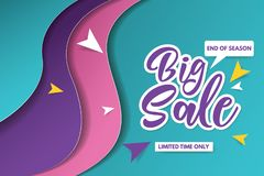 Big sale banner template design. Banner design with paper cut background. Paper art and craft style. stock image
