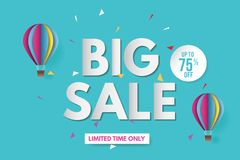 Big sale banner template design. Banner design with paper cut background. Paper art and craft style. stock photography