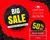 Big sale banner. Template design with circle label and triangles background. Vector illustration Stock Photography
