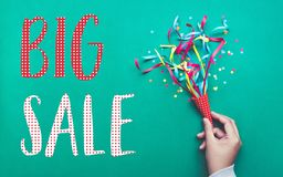 Big sale banner template design with colorful confetti streamer. Celebration and festive concepts ideas royalty free stock image