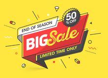 Big Sale banner. Template in flat trendy memphis geometric style, retro 80s - 90s paper style poster, placard, web banner design vector illustration