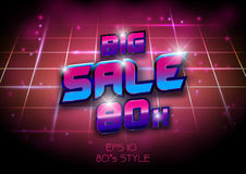 Big sale banner template 80s, 90s concept design Royalty Free Stock Photo