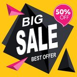 Big sale banner template. Sale banner design. Abstract sale banner. royalty free illustration