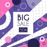Big sale banner, up to 50 percent off, seasonal discount, advertising element vector Illustration. Web design Stock Illustration