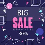 Big sale banner up to 30 percent off template design, seasonal discount poster with different geometric shapes. Advertising element vector Illustration, web Stock Image