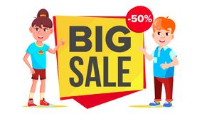 Big Sale Banner Vector. School Children, Pupil. Funny Character. Up To 50 Percent Off Badges. Isolated Illustration. Big Sale Banner Vector. School Children Vector Illustration