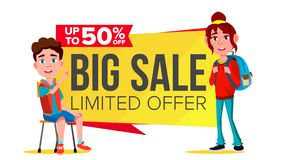 Big Sale Banner Vector. School Children, Pupil. Shopping Concept. Discount Tag, Special Offer Banner. Isolated. Big Sale Banner Vector. School Children, Pupil stock illustration