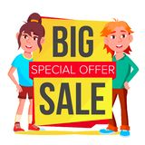 Big Sale Banner Vector. School Children, Pupil. Template Brochure. Special Offer Templates. Best Offer Advertising. Big Sale Banner Vector. School Children royalty free illustration