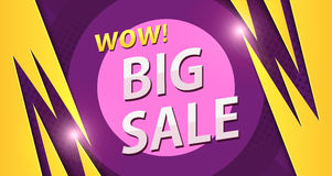 Big sale banner in yellow with purple colors Royalty Free Stock Images