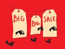 Big sale banners. With red background and footsteps Stock Photography