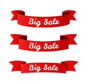 Big Sale Banners. Red big sale banners on white background Royalty Free Stock Images