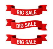 Big Sale Banners. Red big sale banners on white background Stock Photos