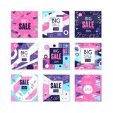 Big sale banners set, bright discount and promotion labels with sale offers, advertising elements vector Illustrations. Isolated on a white background Stock Images