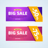 Big sale banners with transparent ribbon. 50 percent off banner. 75 percent off banner. Limited time offer advertising. Vector illustration in flat style for stock illustration