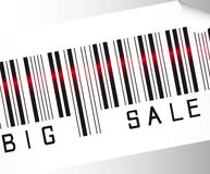 Big sale bar code. Over gray background vector. close up Royalty Free Stock Images