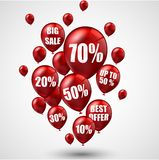 Big sale and best offer balloons Royalty Free Stock Photography