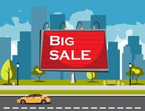 Big sale billboard in city Royalty Free Stock Photography
