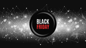 Big sale is a black Friday. Abstract futuristic background with banner. Connection of triangles and dots. A glowing web Stock Photos