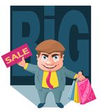 Big sale. Black Friday. Funny cartoon man holds a sale sign and. Shopping bags. Cartoon styled vector illustration. Elements is grouped. No transparent objects Stock Photography