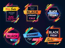 Big Sale Black Friday Set on Vector Illustration. Big sale Black Friday, new discount offer -20 off, set of emblems with geometric shapes and ribbons, collection Royalty Free Stock Image