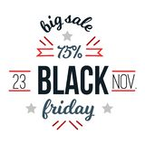 Big sale black friday up to 75 percent off logo. Lettering emblem of discount in inline shopping and retail shop or premium trading mall. Advertising cards or royalty free illustration
