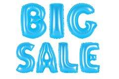 Big sale, blue color. Blue alphabet balloons, big sale, blue number and letter balloon Stock Photos