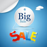 Big Sale on Blue Sky. Background with Clouds Stock Images