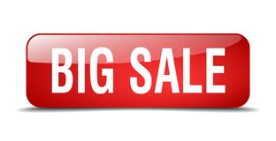 Big sale button. Big sale square 3d realistic isolated glass web button. big sale Royalty Free Stock Photos