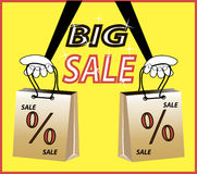 Big sale! Caption percent discount, shopping bags. In hand on bright yellow background. Cartoon vector illustration for business vector illustration
