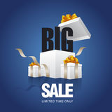 BIG sale card blue background. BIG sale card open gift box blue background Royalty Free Stock Images