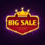 Big sale casino discount banner with marquee lights frame vector illustration Stock Photos