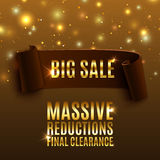 Big sale celebration background with realistic. Curved ribbon. Massive sale. Reductions. Final clearance. Vector illustration Royalty Free Stock Photography