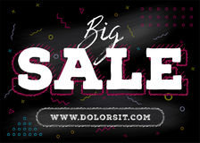 Big Sale Chalk Banner. Grunge Text on Black Chalkboard with Vibr. Ant Memphis Style Pattern. Colorful Geometric Shapes, Volumetric Letters. Discount Template for Royalty Free Stock Images