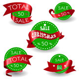 Big Sale Christmas Ball Sticker tags with Sale 50 percent text on Colorful Christmas Ball Sticker tags - EPS10 Vector. Big Sale Christmas Ball Sticker tags with Stock Photography