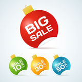 Big Sale Christmas Ball Sticker tags with text. Big Sale Christmas Ball Sticker tags with Sale text on Colorful Christmas Ball Sticker tags - EPS10 Vector vector illustration