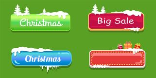Big Sale Christmas Glossy Web Push Buttons in Snow. Big sale Christmas glossy empty web push button covered with snow, decorated by trees and gift boxes vector Stock Image