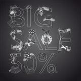 Big Sale Christmas illustration with Sale 50 Stock Image