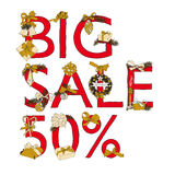 Big Sale Christmas illustration with Sale 50 Stock Images