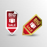 Big Sale Christmas rectangle Sticker tags. Vector Stock Photo