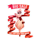 Big sale clothes poster with ribbon. Vector Royalty Free Stock Photos