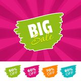 Big sale color banner and 50%, 60%, 70% & 80% Off Marks. Vector illustration. Big sale color banner and 50%, 60%, 70% & 80% Off Marks. Eps10 Vector Stock Image