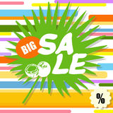 Big sale, colorful abstract background with green leaf Royalty Free Stock Photo
