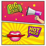 Big Sale Comic Style Banners. With megaphone in hand and mouth holding chili pepper  vector illustration Royalty Free Stock Photography