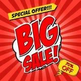 Big Sale!!! Comic style phrase on sunburst background. Design el. Ement for flyer, poster. Vector illustration Royalty Free Stock Photo