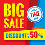 Big sale - concept banner vector illustration. Discount up to 50%. Limited time only. Abstract advertising promotion layout. Graphic design elements Vector Illustration