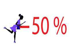Big sale concept with a beautiful girl in . Royalty Free Stock Image