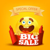 Big sale concept card with smile face. Vector illustration Stock Photo