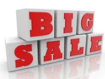 Big sale concept on cubes.3d illustration. In backgrounds Stock Images