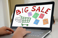 Big sale concept on a laptop screen Royalty Free Stock Photography